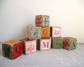Alphabet Blocks Antique Toy Blocks with Letters, Number and Animals Children's Lithograph Blocks Set of 10