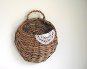 Woven Wall Basket Willow Wall Pocket Wall Hanging Rustic Cabin Decor Farmhouse Decor