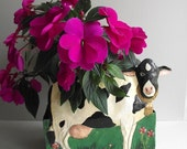 Vintage Cow Planter Container Metal Flower Box Wall Hanging Farmhouse Decor Holstein Cow Garden Decor