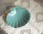 Clam Shell Bowl Turquoise Pottery, Serving Dish, Vanity Dish, Soap Dish, Beach House Cottage Decor
