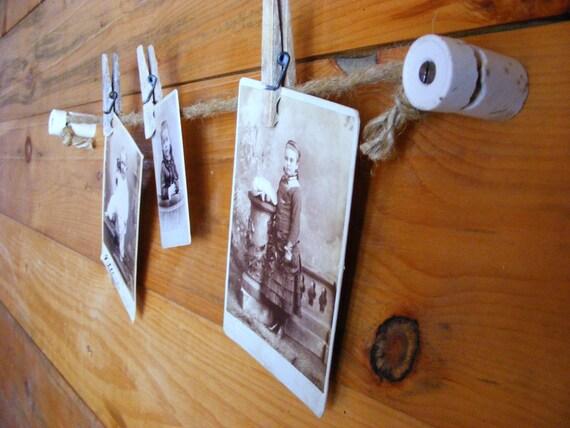 Photo Display | Memo Board Wall Hanging | Knob and Tube | Photo Display Kit | Rustic Office Decor
