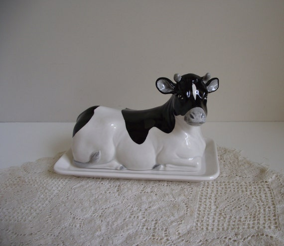 Cow Butter Dish Otagiri Black And White Cow Porcelain