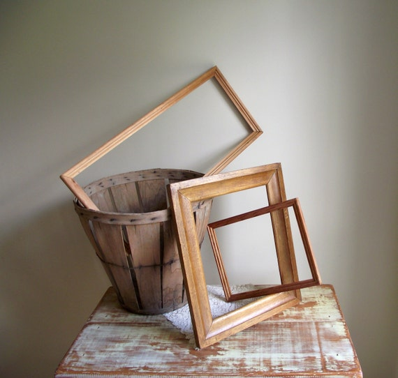 Wood Picture Frames Set of Three Empty Antique Frames Natural Wood Wall Home Decor