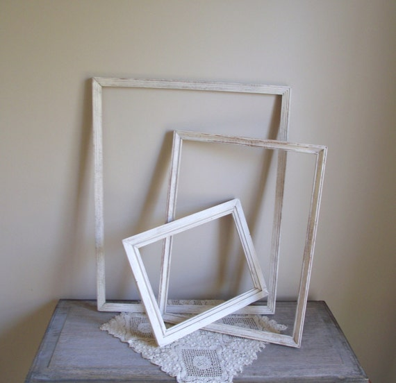 White Picture Frames Set of Three Empty Vintage Wood Frames Shabby Chic Wall Home Decor