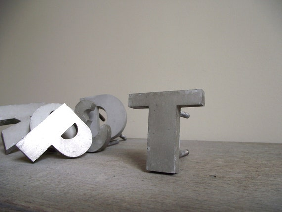 Vintage Industrial Letter T Metal Signage Solid Aluminum Initial