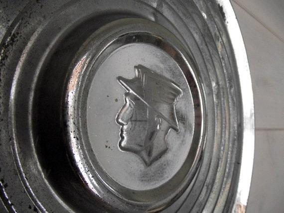 Mercury Hubcap / Wall Art Vintage / 1953 Winged Messenger Man Emblem / Gift for Him / Ford Car Emblem