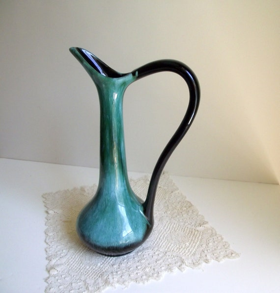 Blue Mountain Pottery Pitcher Elegant Teal Vase Collectible Canada 1970s