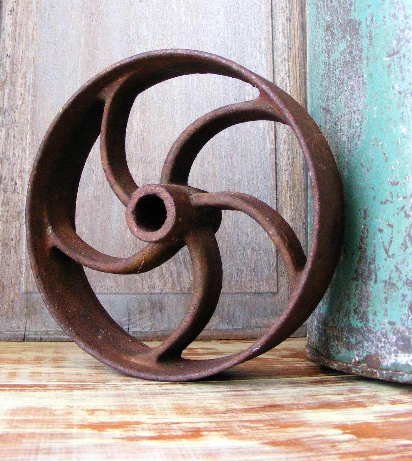 Pulley wheel industrial decor antique rustic farmhouse decor for Rustic industrial decor