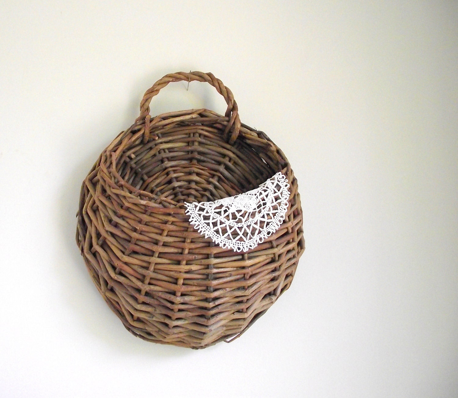 Woven Wall Basket Willow Wall Pocket Wall Hanging Rustic Cabin