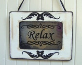RELAX Sign Antiqued Mirror in White and Black Shabby Chic Frame