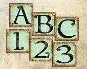 SHaBBy ViNTaGe LeTTeRs and NuMBeRs 1 x 1 inch squares DIGITAL COLLAGE SHEET U-PRINT alphabet antique altered art paper craft supplies handmade greeting cards scrapbook labels