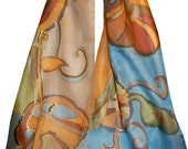 Blue Gold Hand Painted Silk Scarf