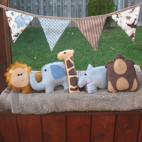 5 African Safari Animal Hand Sewing PATTERNS - DIY Hand Embroidered Plushies - Lion, Gorilla, Elephant, Giraffe, Rhino - Easy