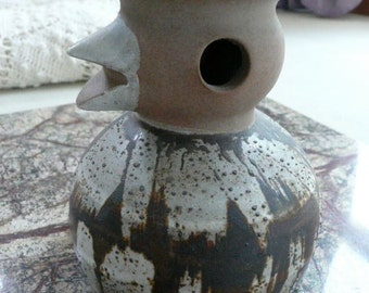 Vintage Stoneware Folk Duck Candle Holder . USA D Designs