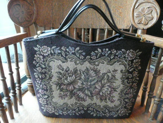 1950s large Needlepoint Like Tote Bag