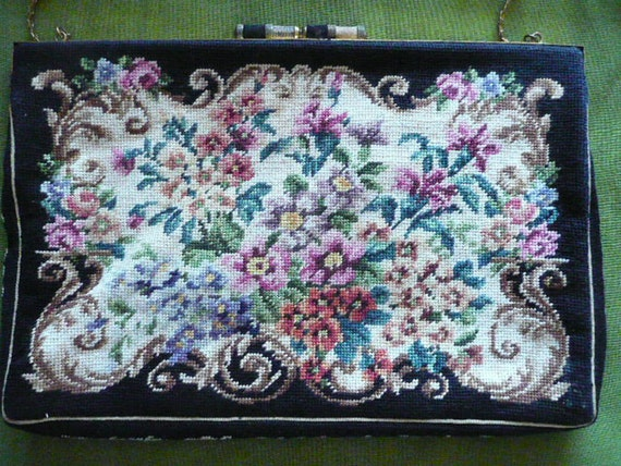 Authentic Antique Jolles Petit Point purse from Austria with papers and history is NOT your run-of-the-mill petit point- Collectible