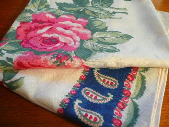 Vintage Flowered Cotton Scarf