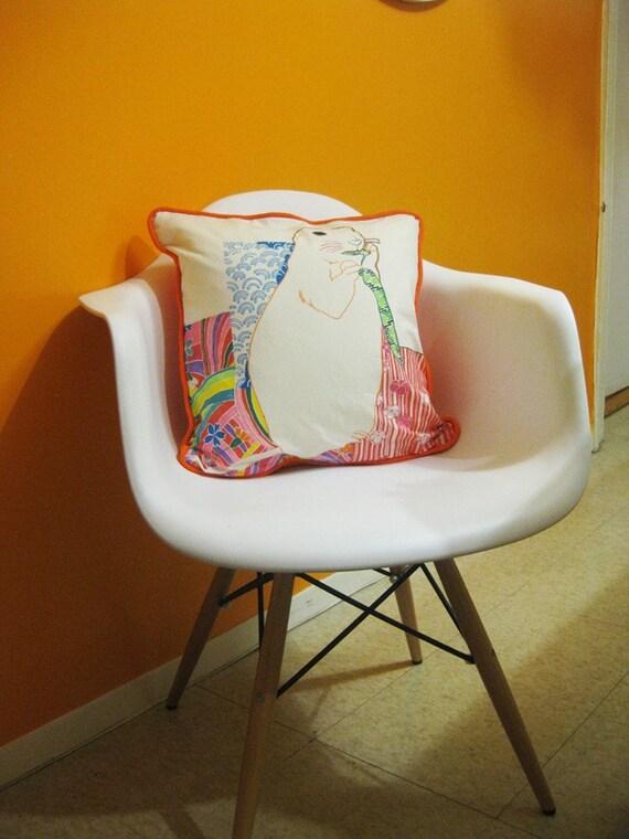 Hand Painted Organic Pillow Cover - Prairie Dog