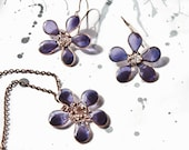 """Pendant and Earrings """"Violet"""" from wire with resin.  Free shipping"""