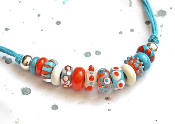 Funky lampwork necklace. Turquoise and orange. Free shipping