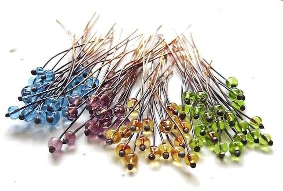 Glass Ball Headpins 22 ga - 100 Pieces - Handmade wire jewelry supplies