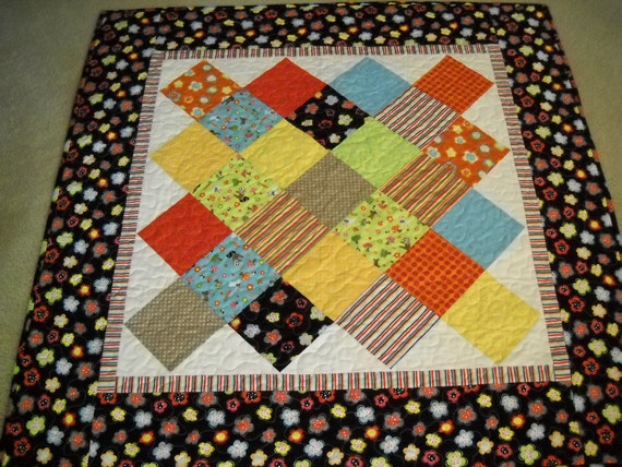 Classic Patchwork Baby Quilt , Black and White Crib Quilt , Aqua and Yellow Baby Quilt
