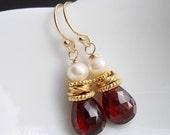 Royal Red Garnet - 14k Gold Filled Red Garnet Gemstone Freshwater White Pearl  Vermeil Earrings - Handmade