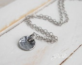 Tiny Sterling Silver Disc Oxidized Hammered Dot Necklace - Handmade Organic Layering Necklace
