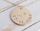 14k Gold Filled Disc Mommy Necklace Hand Stamped Date or Name Mama Bird - Handmade Personalized - 3/4 inch 20 gauge