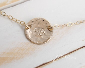 Personalized Initial Necklace, 14k Gold filled, Hammered Disc, Custom Hand Stamped, Suspended Circle Monogram Choose Font/Initial Small Disc