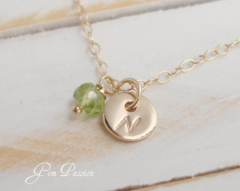 Peridot Necklace Tiny 14k Gold Filled Initial Monogram Personalized, August Birthstone Necklace Handmade Hand Stamped Tiny Dot Personalized