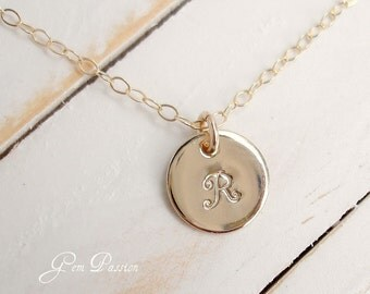 """Personalized Gold Initial Necklace - 14k Gold Filled Monogram Hand Stamped Handmade You Choose Font/Initial Custom Made 3/8"""""""