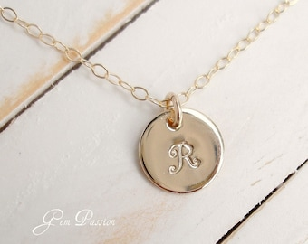 14K Gold Filled Initial Necklace, Custom Hand Stamped, Small Disc Monogram, Thick 20 gauge 3/8th Size - Choose Font and Initial