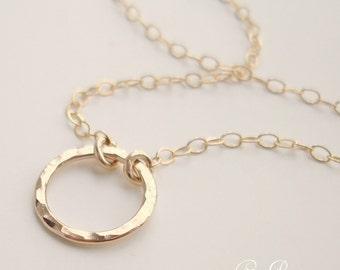 Tiny Gold Halo - 14k Gold Filled Circle Disc Hammered Necklace - Handmade - Eternity Circle Bridal Bridesmaid Wedding Gold Ring