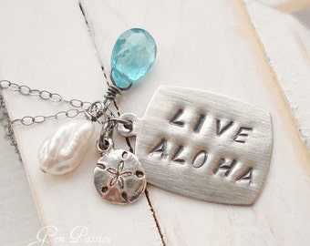 RESERVED Sterling Silver Live Aloha Necklace / Custom for Kayla (made with larger tag than in photo) Reserved