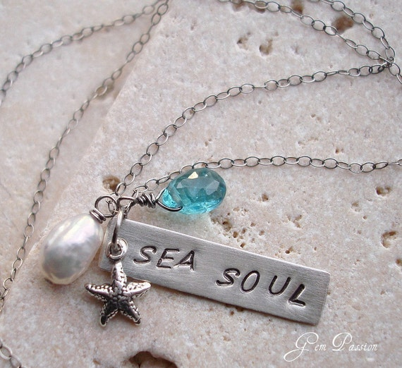Sterling Silver Bar Necklace Sea Soul, Apatite Gem, Silver Starfish, White Keishi Pearl, Beach Girl Necklace Handmade, Hand Stamped