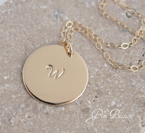 Personalized 14k Gold Filled Initial Disc Necklace, Handmade, Initial Monogram Celebrity Style 5/8ths Hand Stamped/Handmade, Custom