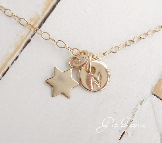Tiny Gold Star of David Initial Disc Necklace 14k Gold filled Personalized Charm Pendant Custom Delicate Gold Star Jewelry
