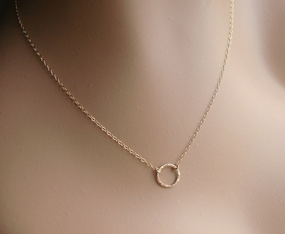 Gold Ring Necklace, 14k Gold Filled Circle Disc, Hammered or Smooth, Eternity Circle, Suspended Circle, Choker Necklace, Delicate Necklace
