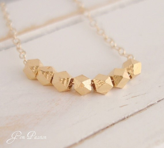 Gold Nugget Necklace - Vermeil 24k Gold over Fine Silver Nugget Bead and Gold Filled Necklace Handmade Summer Fashion