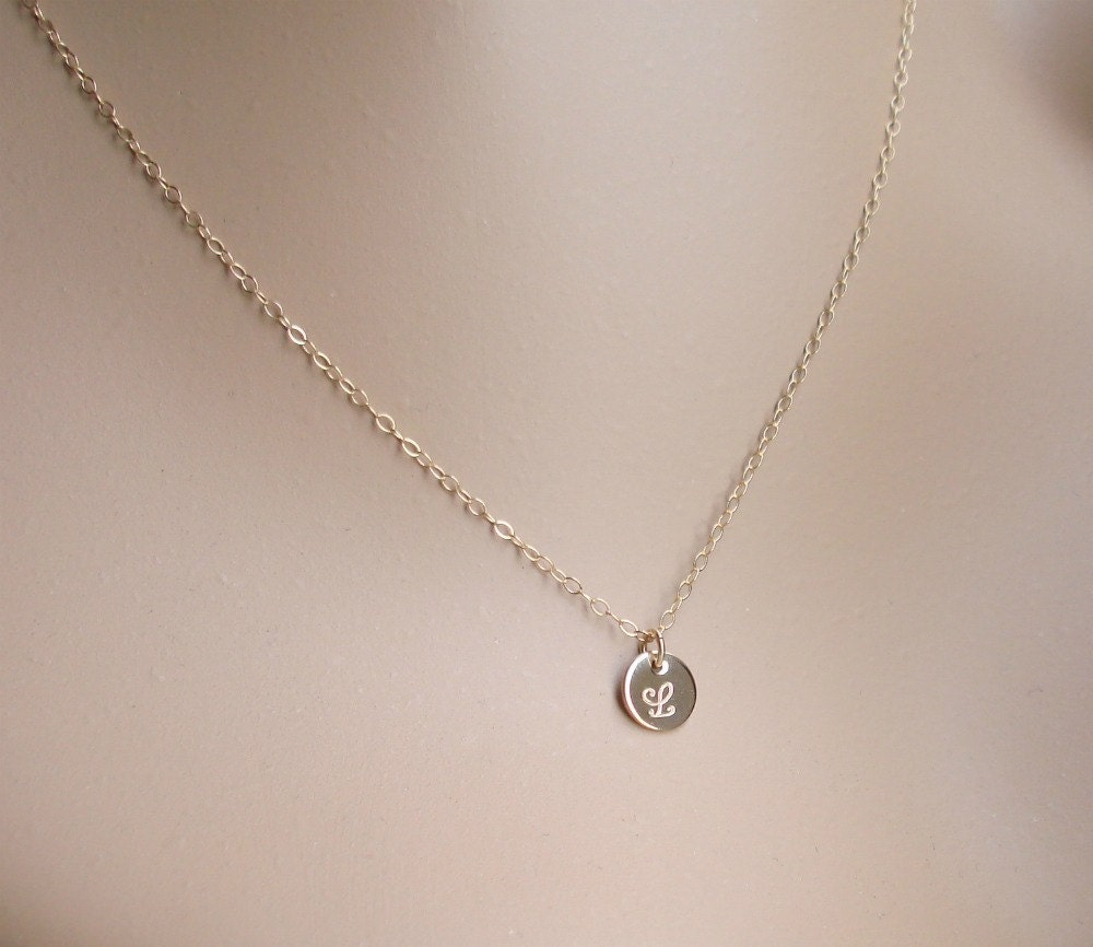 delicate small gold initial necklace 14k gold filled