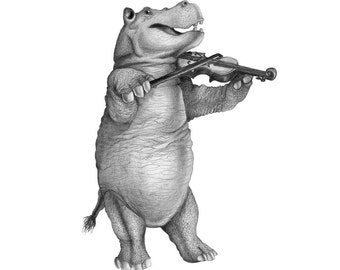 5x7 Giclee Print Hippo with Violin