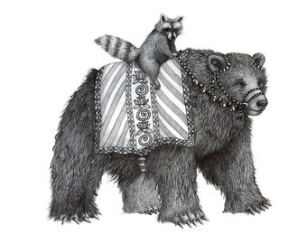8x10 Giclee Print Animal Parade Bear and Raccoon pencil illustration