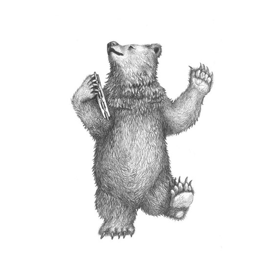 5x7 Giclee Print of Delacorte Clock Dancing Bear pencil illustration