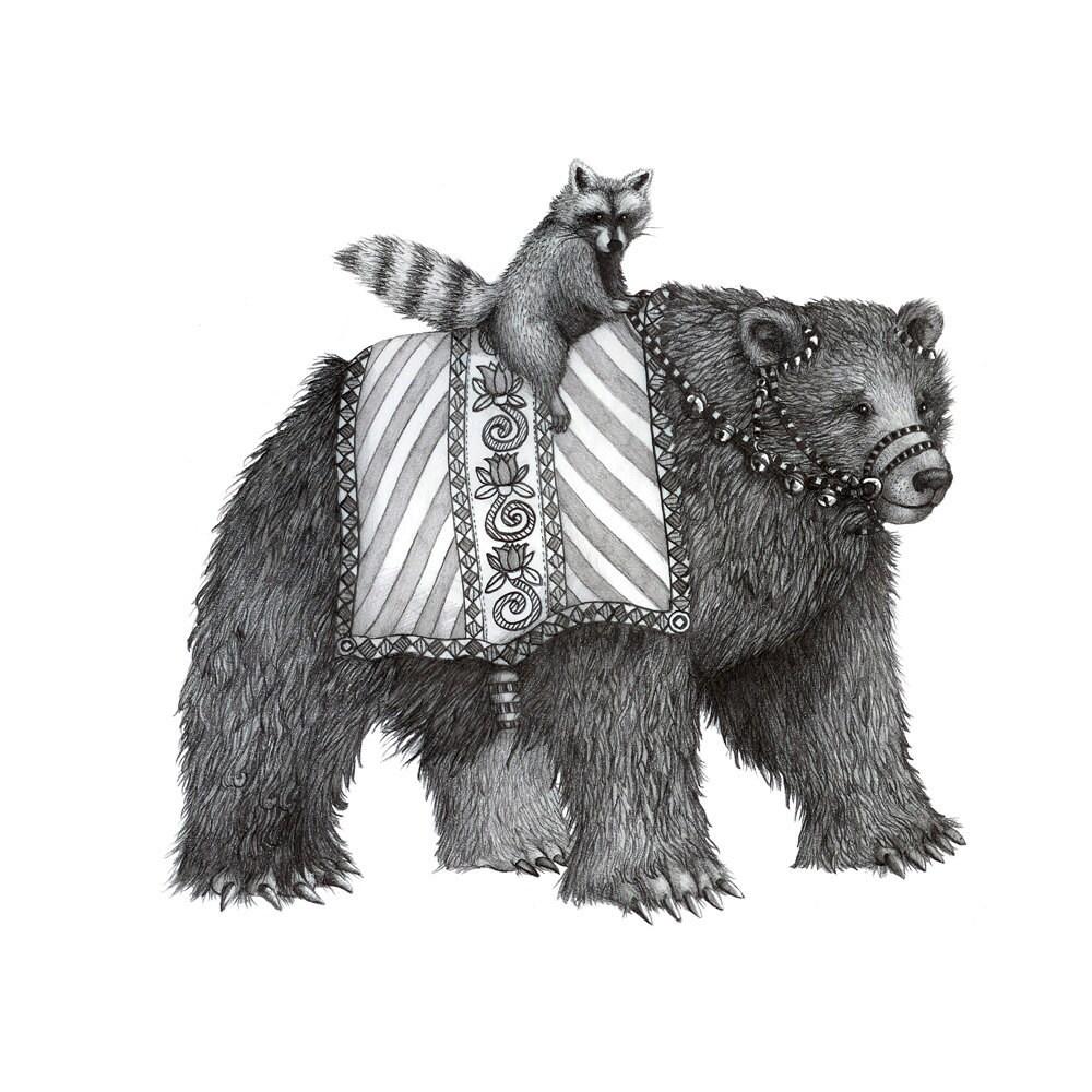 8x10 giclee print animal parade bear and raccoon pencil