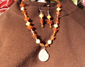 At a Snails Pace Poly Clay Necklace and Earring Set