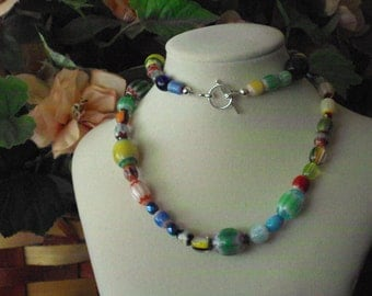 Multi Colored Chevron Glass Beaded Necklace