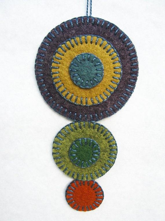 Wool Felt Penny Rug Ornament - Growing Eggplants