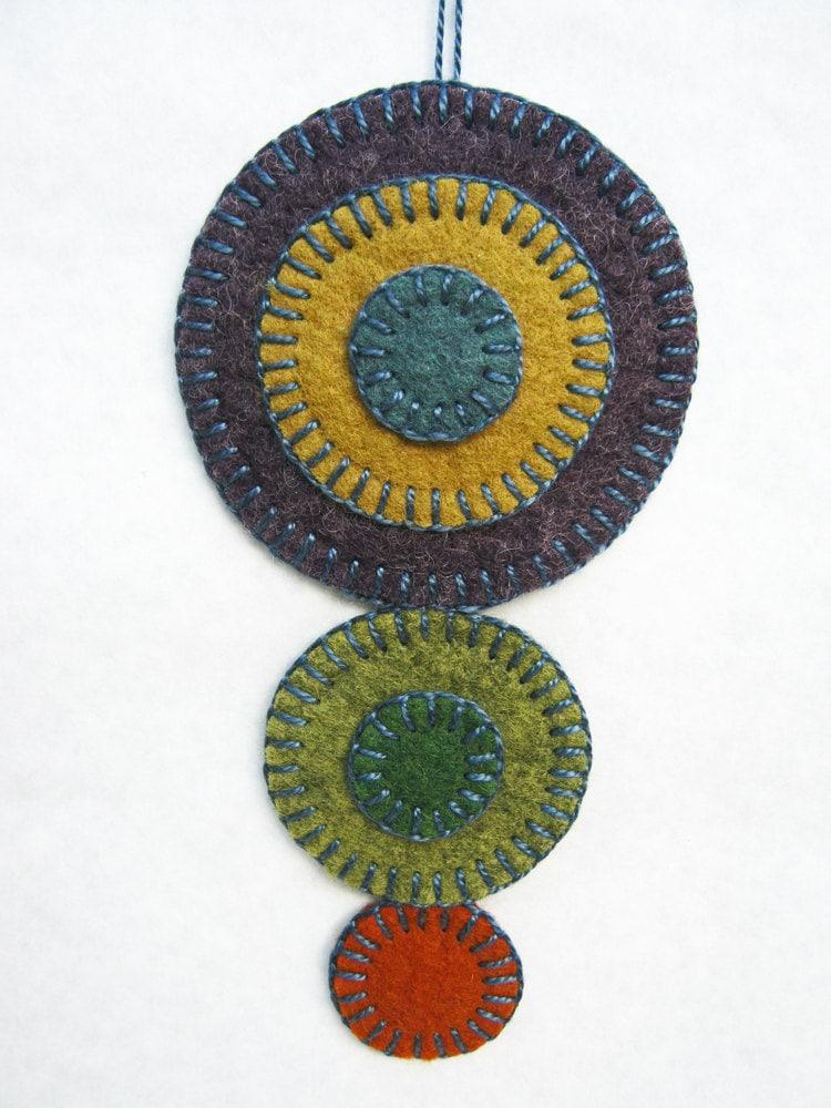 Wool felt penny rug ornament growing eggplants