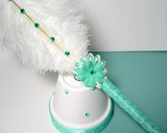 Ostrich Feather Pen/Stand - Mint Green & White Damask (Custom Colors Available)